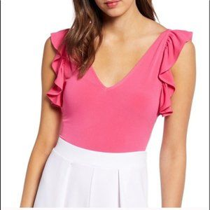 (NWOT) Leith | Ruffle Stretch Body Suit Pink